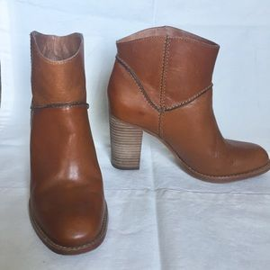 Aerin Rivette leather booties stacked heel NEW